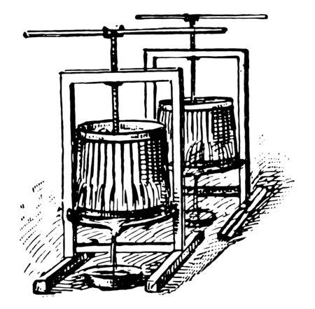 This illustration represents Wine Press which is used to extract juice from crushed grapes during wine making, vintage line drawing or engraving illustration.