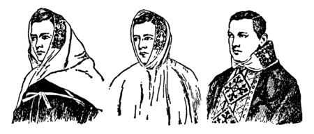 These are the examples of Medieval Amice. It consists of a white cloth connected to two long ribbon-like attachments, by which it is fastened around the shoulders of the priest, vintage line drawing or engraving illustration.
