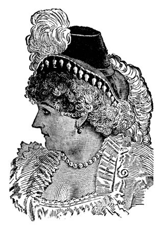 Fanny Davenport, 1850-1898, she was an Anglo-American stage actress, vintage line drawing or engraving illustration