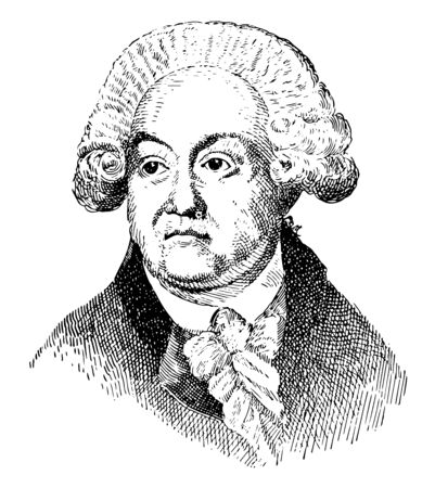 Mirbeau, 1749-1791, he was a leader of the early stages of the French revolution, vintage line drawing or engraving illustration Ilustração
