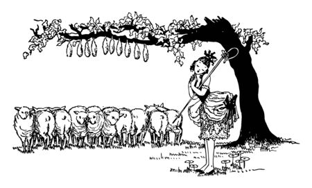 Little Bo Peep, this scene shows a little girl and group of sheep whose tails are tacked to the tree are standing under tree, vintage line drawing or engraving illustration