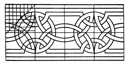 Romanesque Interlacement Band consists of wavy arcs, it is an angular bend, vintage line drawing or engraving.