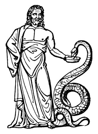 Aesculapius who is considered as medicine god as per Greek religion is serving milk to snake, vintage line drawing or engraving illustration.