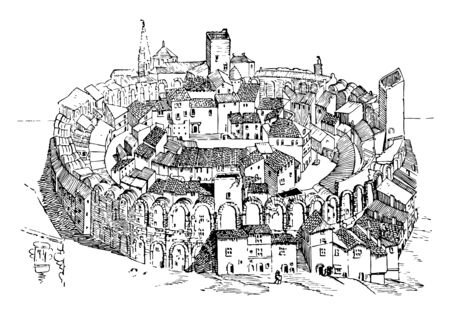 Amphitheater  in Arles built in the Middle Ages, used to describe theatre-style stages,  spectator seating on only one side,  theatres in the round, vintage line drawing or engraving illustration. Illustration