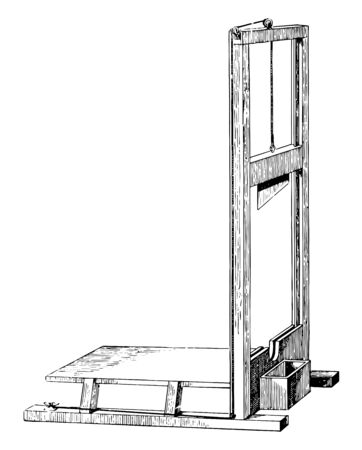 This is an instrument where the prisoner's head is used for cutting punishment, vintage line drawing or engraving illustration. Ilustração