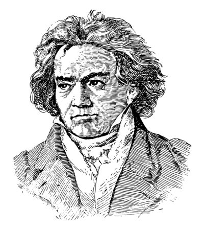 Ludwig van Beethoven, 1770-1827, he was a German composer and pianist, famous for his compositions 9 symphonies, 5 piano concertos, 1 violin concerto, 32 piano sonatas, 16 string quartets, vintage line drawing or engraving illustration Ilustração