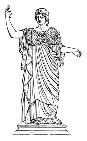 Statue of Athena in sharing information with others pose, vintage line drawing or engraving illustration.