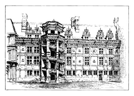 Blois Palace, an example of Renaissance architecture, dpartement in the Loire Valley, emblems and coats of arms of the palace,  vintage line drawing or engraving illustration.