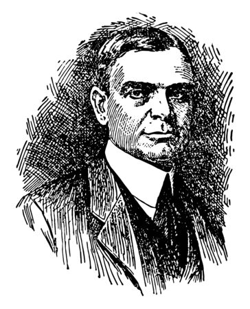 George E. Vincent, 1864-1941, he was an American sociologist and university president, vintage line drawing or engraving illustration