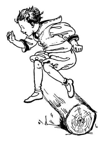 A boy is jumping and crossing a hurdle of a log, vintage line drawing or engraving illustration.