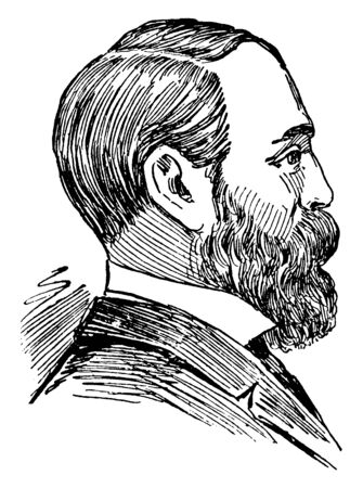 Sir Charles Dilke, 1843-1911, he was an English liberal and radical politician, vintage line drawing or engraving illustration Çizim