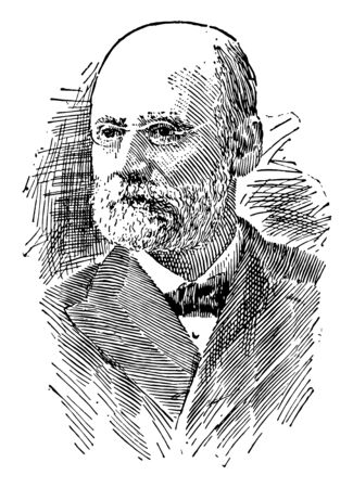 William T. Harris, 1835-1909, he was an American educator, philosopher, and lexicographer, vintage line drawing or engraving illustration