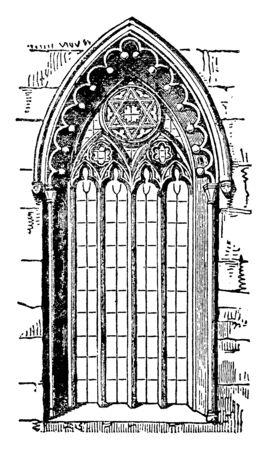 Fenster im gotischen Stil oder romanische Architektur, Spitzbogen, Strebepfeiler, Vintage-Linienzeichnung oder Gravierillustration. Vektorgrafik