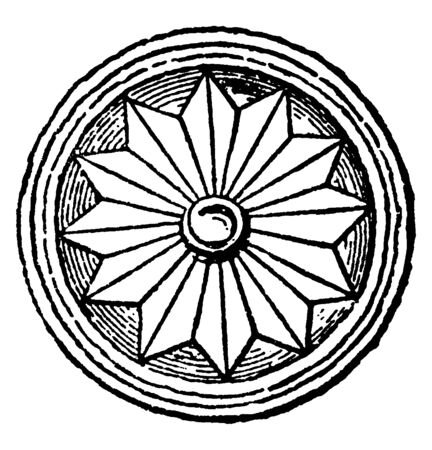Decorative Plaque is a circular plaque decorated with a rosette, vintage line drawing or engraving illustration.