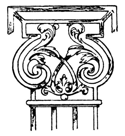 Wrought-Iron Pilaster Capital, 17th century, athis-mons, castle, France, Paris, supports, wrought-iron, vintage line drawing or engraving illustration.