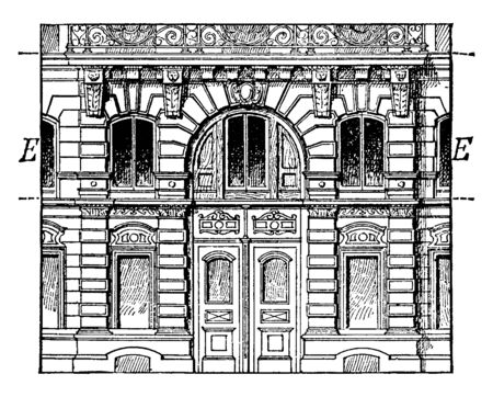 Entresol is a low story between two others of greater height level between the ground floor and first floor, it is below a higher floor, vintage line drawing or engraving illustration. Иллюстрация