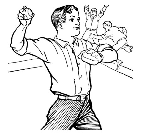The boy is throwing a ball, vintage line drawing or engraving illustration.