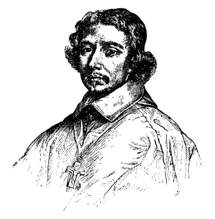 Cardinal de Retz, 1613-1679, he was a French churchman, writer of memoirs, and agitator in the Fronde, vintage line drawing or engraving illustration