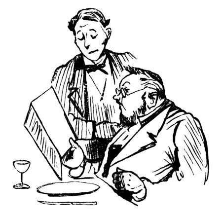 Diese Abbildung stellt Kellner und Kunden dar, bei denen der Kellner eine Bestellung von einem Kunden entgegennimmt, der ein Menü, eine Vintage-Linienzeichnung oder eine Gravurillustration betrachtet.