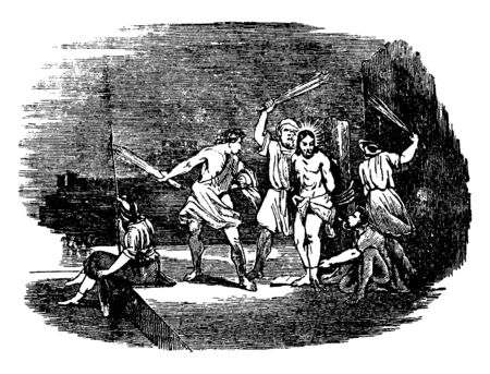 Jesus was tied to pillar with rope and some men scourged him before crucified, vintage line drawing or engraving illustration.