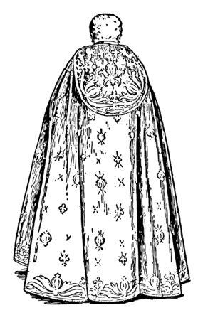 Mężczyzna miał plecy z boku nosił długą szatę, na której widniały kwieciste wzory i był znany jako siedemnastowieczna koronacja, vintage rysowanie linii lub ilustracja grawerowania.
