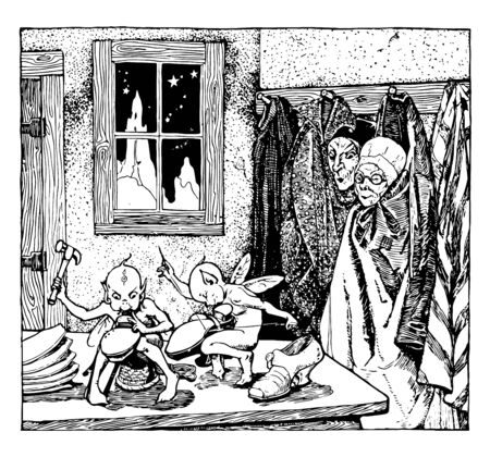 The Elves and the Shoemaker, this scene shows two elves making the shoes, one sewing shoe and another fixing something with hammer, an old woman and man looking at elves, vintage line drawing or engraving illustration Ilustracja
