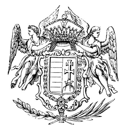 The Great Seal of Hungary is a Hungarian Coat of Arms, vintage line drawing or engraving illustration.