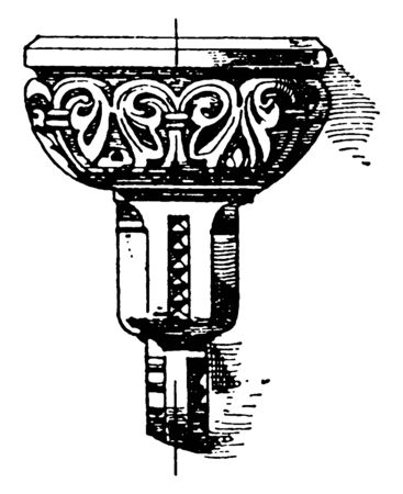 Romanesque Stoup was found in Roman Catholic churches, vintage line drawing or engraving illustration.