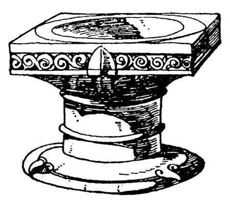 Romanesque Stoup is used to hold holy water, vintage line drawing or engraving illustration.