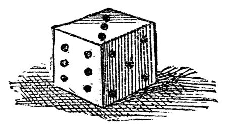 In this image there is a small dice which is used in a game. On this dice there is six dots on one side & five dots on other side & three dots on upper side, vintage line drawing or engraving illustration.