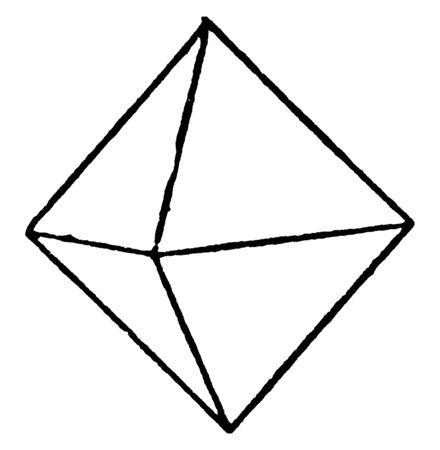 This diagram represents Octahedral Crystal, vintage line drawing or engraving illustration.