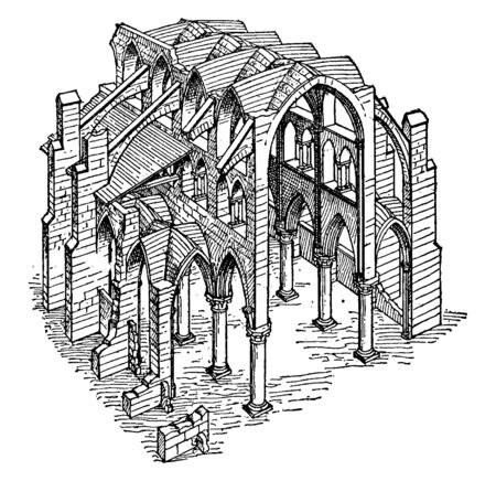 Constructive System of a Gothic Church, the principles of isolated supports, buttressing,  support system, vintage line drawing or engraving illustration.