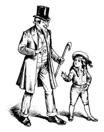 A man and a young boy walking together. They both has wear hat on head. Man has a stick in his hand, vintage line drawing or engraving illustration.