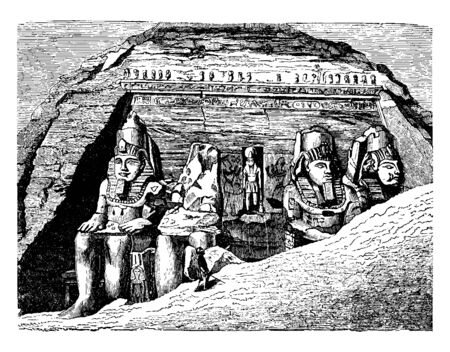 Entrance of the Great Temple at Abu Simbel,  double crown, Upper and Lower Egypt decorate,  facade of the temple,  worshippers of the sun, flank the entrance,  vintage line drawing or engraving illustration.