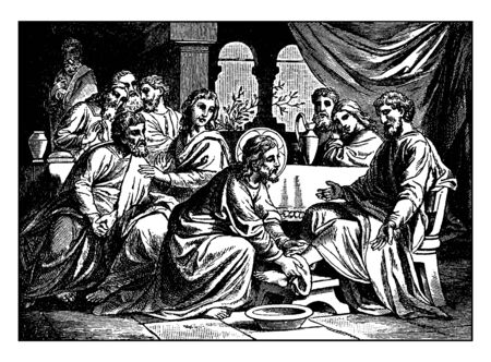 Jesus is washing the feet of His disciples to show the importance of Baptism and Penance, vintage line drawing or engraving illustration.