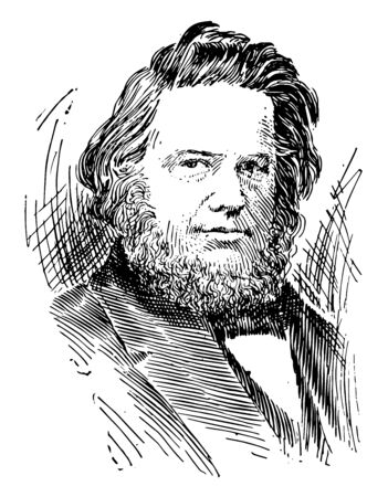 Elias Howe, 1819-1867, he was an American inventor and sewing machine pioneer, vintage line drawing or engraving illustration