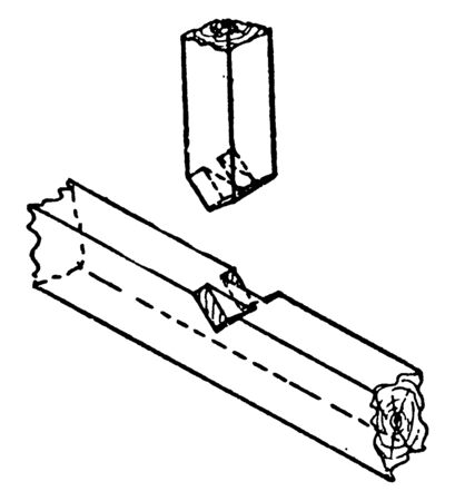 This illustration represents Bridle Joint which is a woodworkingjoint, vintage line drawing or engraving illustration.
