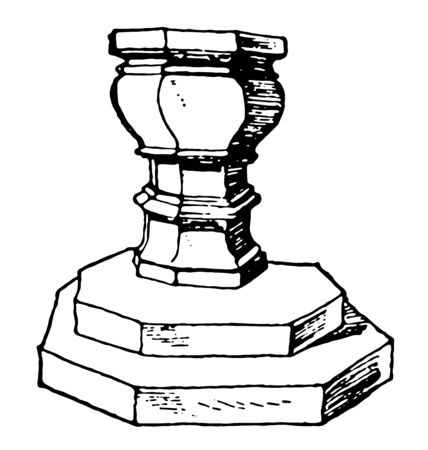 This Romanesque stoup is placed on wall which contains with holy-water, vintage line drawing or engraving illustration. Çizim