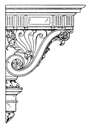 Renaissance Console has a floral design with upward spiral curves, either side, evokes a classic palladian style, vintage line drawing or engraving illustration.