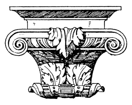 Renaissance Console is a German design found in the Heidelberg, evokes a classic palladian style, top of moulding, vintage line drawing or engraving illustration. Illustration
