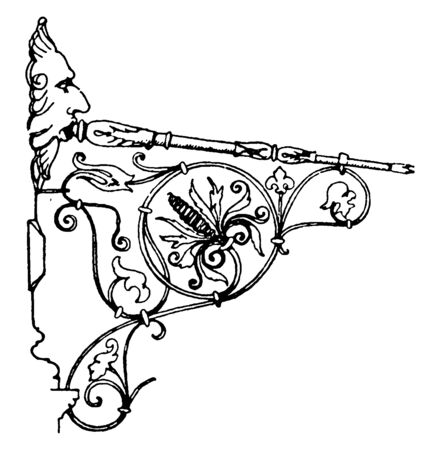 Wrought-Iron Bracket is a German Renaissance style, unique and handmade, related items directly, vintage line drawing or engraving illustration.