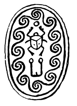 In this image the Scaraboeus or beetle appears isolated on  and elsewhere,  symbol of creation and life,  was the commonest of amulets, vintage line drawing or engraving illustration.