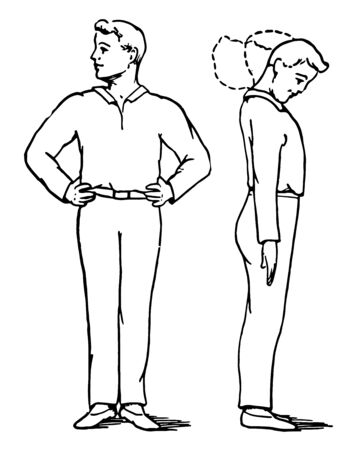 In this picture a boy turns his hands on waist. He is turning his head on left, right & round. He is doing muscles Exercise, vintage line drawing or engraving illustration.