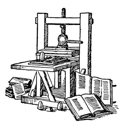 Ta ilustracja przedstawia funkcję prasy drukarskiej Gutenberg, vintage rysowania linii lub grawerowania ilustracji.