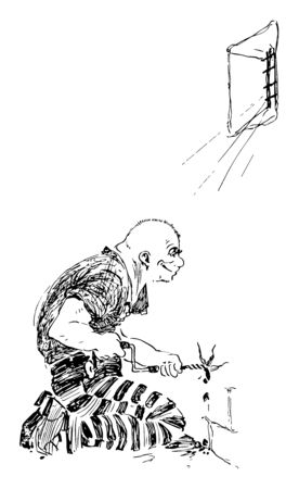 A picture of a prisoner who is piercing a hole on the wall of the prison, vintage line drawing or engraving illustration. Stock Illustratie