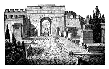 Street of Tombs at Pompeii, smaller dimensions various forms, abnormal decorations were employed, a shape similar to an altar or a temple, vintage line drawing or engraving illustration.