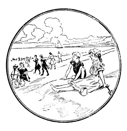 A scene at the beach where two young shell collectors are sitting and relaxing on the beach while other tourists are doing walk along the sea shore, vintage line drawing or engraving illustration.