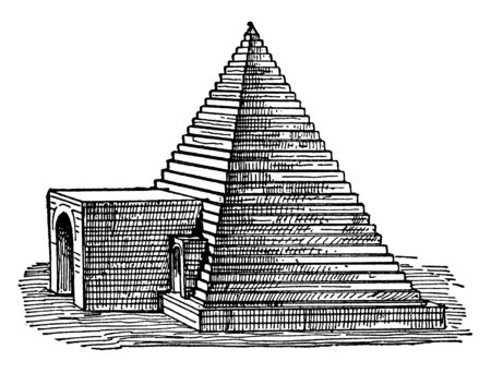 Tomb at Abydos, structural, pyramidal,  most venerated, abydos tomb pyramid, ancient egyptian architecture, burial ground, vintage line drawing or engraving illustration.