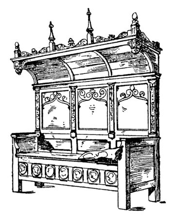 Renaissance Bench made from wood has high back with carvings at the top, vintage line drawing or engraving illustration