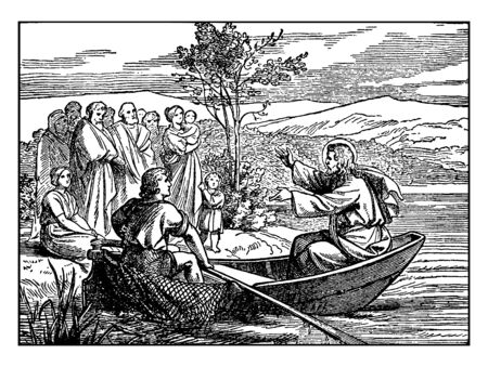Jesus is speaking to a crowd. Some people are listening carefully & some people are talking with each others, vintage line drawing or engraving illustration. Illusztráció